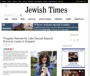 Jewish Times: Program Named for Late Sexual Assault Survivor Looks to Expand
