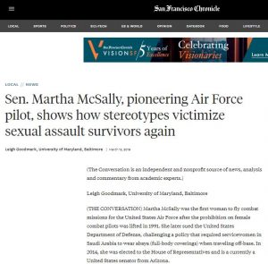 SF Chronicle: Sen. Martha, pioneering Air Force pilot, show how stereotypes victimize sexual assault victims again