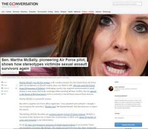 The Conversation: Sen. Martha McSally, pioneering Air Force pilot, shows how stereotypes victimize sexual assault survivors again