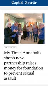 Capital Gazette: My Time: Annapolis shop's new partnership raises money for foundation to prevent sexual assault