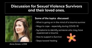 Discussion for sexual violence survivors and loved ones