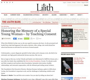 Lilith Magazine: Honoring the Memory of a Special Young Woman by Teaching Consent